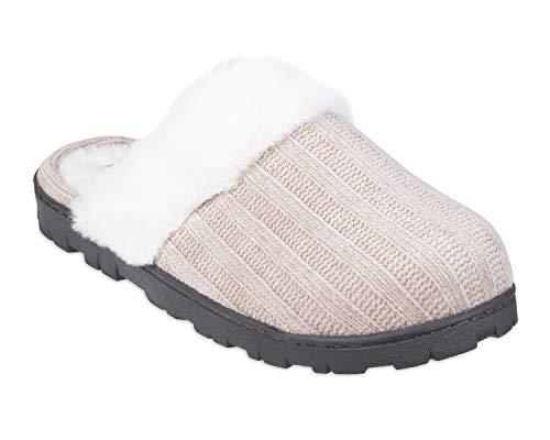 Chaps Women's Comfy Faux Fur House Slipper Scuff Memory Foam Slip On Anti-Skid Sole, Taupe, Medium (6.5-7.5)