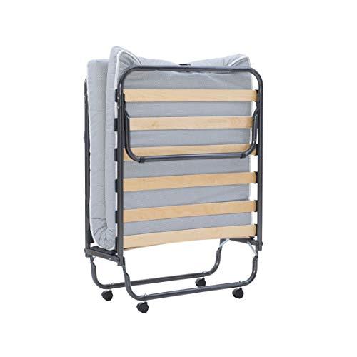 Linon Head Rollaway Single Memory Foam Mattress Luxor Folding Bed, White Adjustable