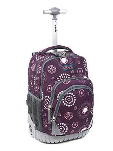 Tilami Kids Rolling Backpack 18 inch Boys and Girls Laptop Backpack, Flower