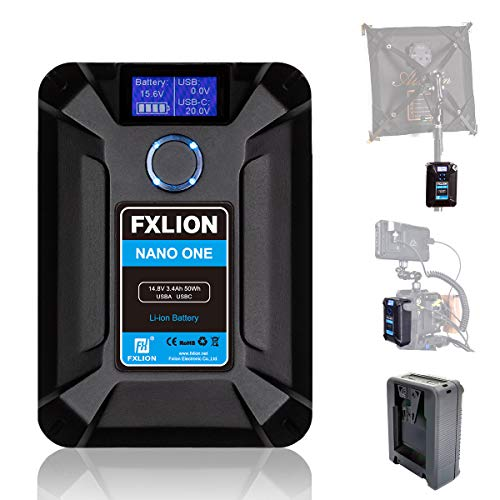 FXLION NANO ONE [Official] V Mount/V-Lock Battery 3400mAh(50Wh/14.8V) with D-TAP,USB-C,USB-A, Micro USB Plugs,10oz Mini Power Bank for Cameras, Camcorders, LED Lights, Monitors, Macbook and Smartphone