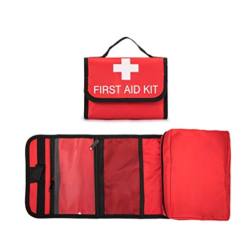 Jipemtra First Aid Bag Tote Empty Small First Aid Kit Bag Outdoor Travel Rescue Pouch First Responder Medicine Bag Pocket Container for Car Home Office Sport Outdoors (Red Foldable)