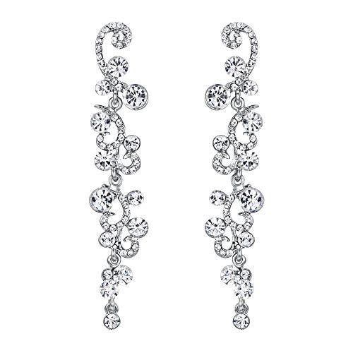 EVER FAITH Bridal Flower Wave Austrian Crystal Dangle Earrings Silver-Tone - Clear