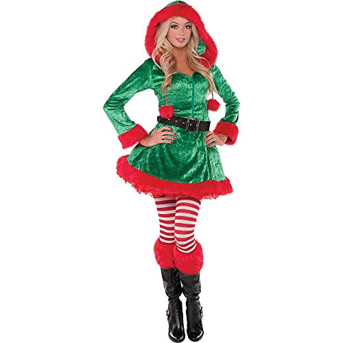 Amscan Sassy Elf Costume for Women, Christmas Costume, Medium, with Included Accessories