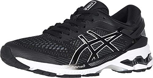 ASICS Women's Gel-Kayano 26 Running Shoes, 8.5M, Black/White