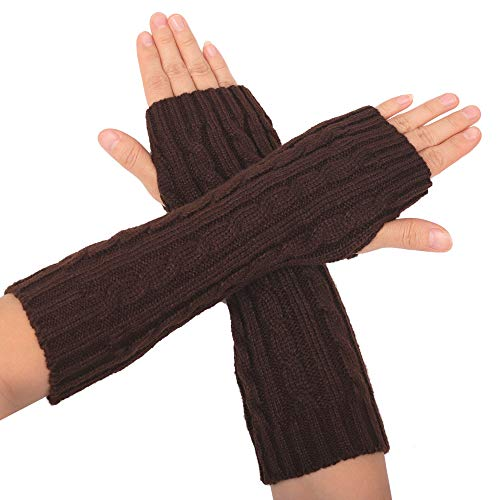 Flammi Women's Cable Knit Arm Warmers Fingerless Gloves Thumb Hole Gloves Mittens (Coffee)