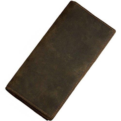 Itslife Men's RFID Vintage Look Genuine Leather Long Bifold Wallet Checkbook Wallets