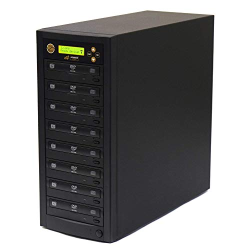 Acumen Disc 1 to 7 DVD CD Duplicator - Multiple Discs Copier Machine with 24x Writers Burners Drives (Standalone Audio Video Copy Duplication Device Unit)