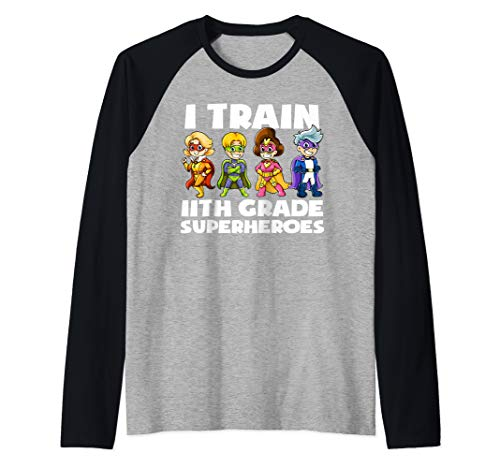 Super hero Teacher Apparel, I Train 11th Grade Superheroes Raglan Baseball Tee