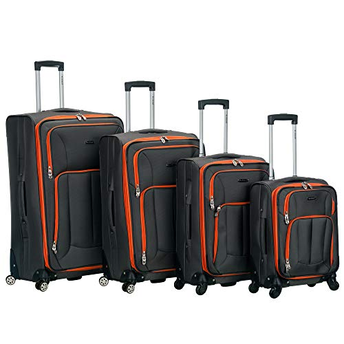 Rockland Impact Softside Spinner Wheel Luggage Set, Charcoal, 4-Piece (18/22/26/30)