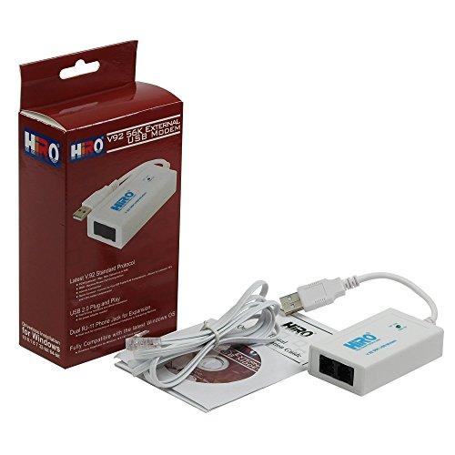 HiRO V92 56K External USB Data Fax Dial Up Internet Modem Dual Port Built in Buzzer Truly Plug n Play Driverless Installation Built in Driver Windows 10, 8.1, 8, 7, 32-bit 64-bit (H50228)
