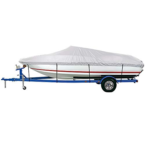 iCOVER Waterproof Heavy Duty Boat Cover, Fits V-Hull,Fish&Ski,Pro-Style,Fishing Boat,Runabout,Bass Boat, up to 17ft-19ft Long X 96' Wide