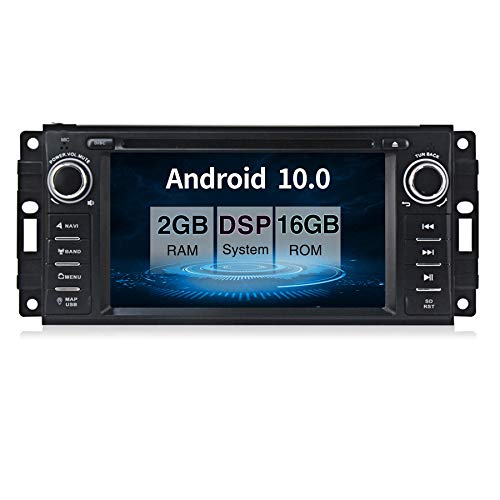 Android 10.0 Car Stereo CD DVD Player in Dash Car Radio Multimedia Player Navigation System with 6.2 inch LCD Bluetooth WiFi GPS for Jeep Wrangler Dodge Chrysler