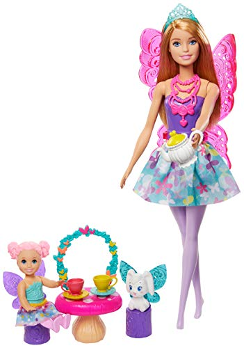 ​Barbie Dreamtopia Tea Party Playset with Barbie Fairy Doll, Toddler Doll, Tea Set, Pet and Accessories, Multi