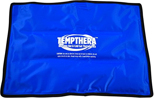 Tempthera Reusable Hot and Cold Gel Packs for Therapy, Pain Relief (Back, Neck, Arm, Leg) - 14 x 10 Inch (Medium) - 1 Count - Blue