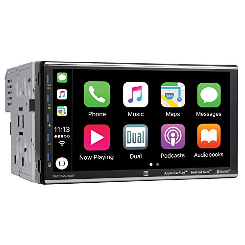 Dual Electronics 7' Double Din Mechless Digital Media Receiver with Apple CarPlay Android Auto