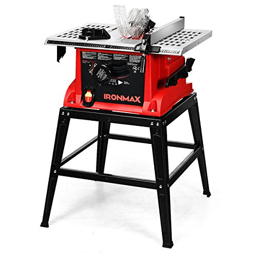 Goplus Table Saw, 10-Inch 15-Amp Portable Table Saw, 36T Blade, Cutting Speed Up to 5000RPM, 45º Double-Bevel Cut, Aluminum Table, Benchtop Table Saw with Metal Stand, Sliding Miter Gauge