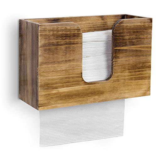 MyGift Rustic Dark Brown Burnt Solid Wood Refillable Wall Mounted Paper Towel Dispenser