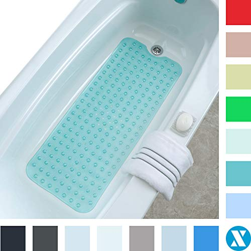"SlipX Solutions Aqua Extra Long Bath Mat Adds Non-Slip Traction to Tubs & Showers - 30% Longer Than Standard Mats! (200 Suction Cups, 39"" Long Bathtub Mat)"