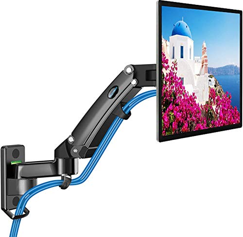 Monitor Wall Mount - Gas Spring Arm Wall Mount Stand for 24 to 35 Inch Screen, Full Motion Adjustable Vesa Bracket, Hold 6.6 to 26.4lbs, Vesa 75 100 200