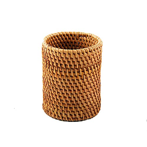 WEIMAY Pencil Holders Handmade Autumn Rattan Pen Holder, Straight Office Organizer for Office Supplies and Desk Accessories