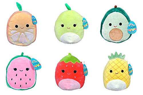 Squishmallow Kellytoy Set of 6 Mini 5' Fruits Collection Plush Doll
