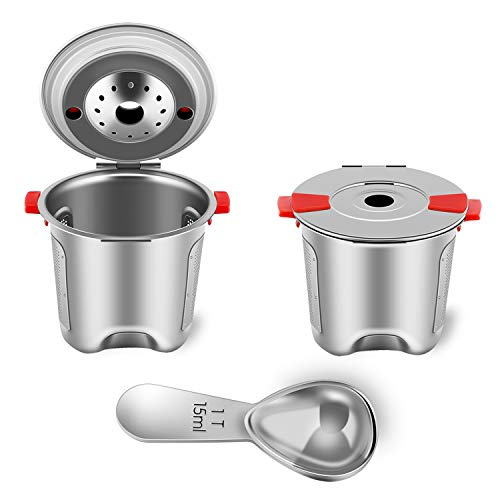 Reusable K Cups Fit for Keurig 2.0 and 1.0 Coffee Maker - Stainless Steel K Cup Reusable - Universal Refillable K Cup Filter BPA FREE (2 PACK)
