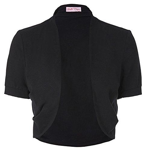 Belle Poque Womens Cotton Shrug Open Front Crop Bolero Solid(S,Black)