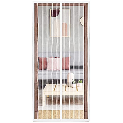 innotree Upgraded Magnetic Screen Door with 36 Magnets Heavy Duty Mesh Curtain, Fits Doors Up to 38'x82', Hands Free Dogs Cats Friendly Door Screen, White