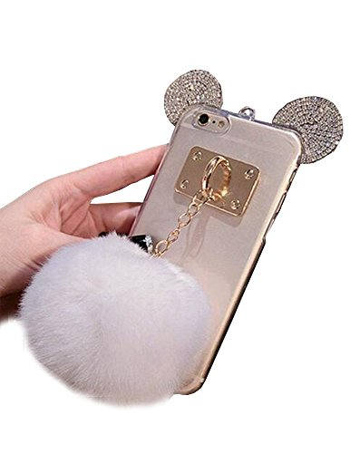 Jesiya iPhone 6/6s Case Fur TPU,Super Cute 3D Handmade Diamond Ears Handcraft with Metal Ring Metal Buckle Pendant Fur Plush Ball Clear Cover case for iPhone 6/6s 4.7'