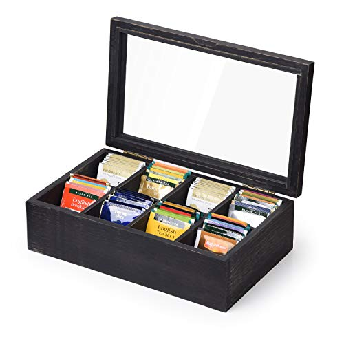 Alsonerbay Wooden Tea Box Tea Bag Holder Kitchen Storage Chest Box for Spice Pouches and Sugar Packets with 8 Compartments and Glass Window Weathered Black
