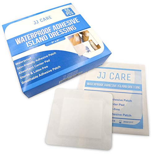 "JJ CARE [Pack of 50] Waterproof Adhesive Island Dressing 6"" x 6"", Sterile Wound Dressing, Adhesive Bandages, Breathable Bordered Gauze Pads, Latex Free, Individually Wrapped, Composite Dressing"