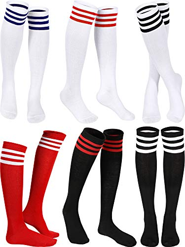 Triple Stripes Knee Socks Unisex Cotton Three Stripe High Tube Socks (White in Red/Black/Blue Stripe, Black in White/Red Stripe, Red in White Stripe, 6)