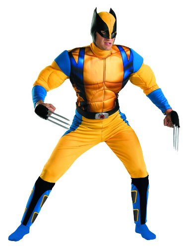 Disguise Marvel The Wolverine Classic Muscle Mens Adult Costume, Yellow/Blue,  X-Large/42-46