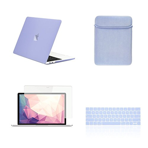 TOP CASE MacBook Pro 13 inch Case 2019 2018 2017 2016 Release A2159 A1989 A1706 A1708, 4 in 1 Essential Rubberized Hard Case, Keyboard Cover, Screen Protector, Sleeve for MacBook Pro 13'-Serenity Blue