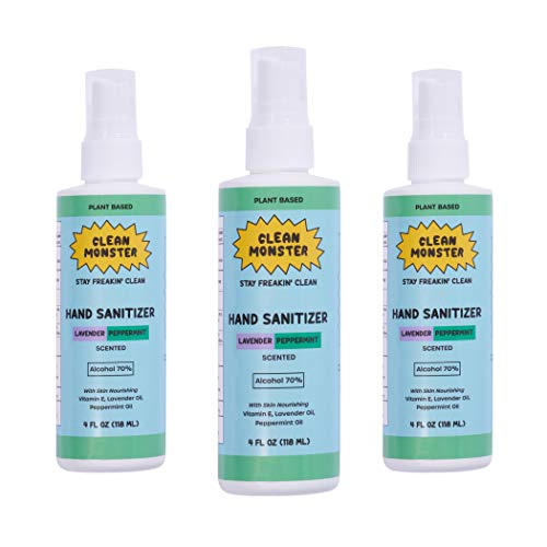 CLEAN MONSTER 4 oz 3 Pack Lavender Peppermint Hand Sanitizer Spray - Made in USA   With 70% Ethanol Alcohol, Lavender Oil, Peppermint Oil, and Vitamin E - Removes 99.9% of Bacteria on Skin