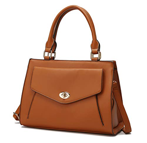Mia K.Collection Crossbody Bag for Women Purses and Handbags, Top-Handle KatieWomen Satchel Tote, Purse For Women Brown