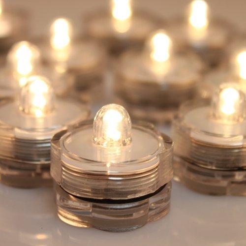 AGPTEK 24x LED Submersible Waterproof Wedding/Party/Floral Decoration Tea Vase Battery Light Candles-Warm White