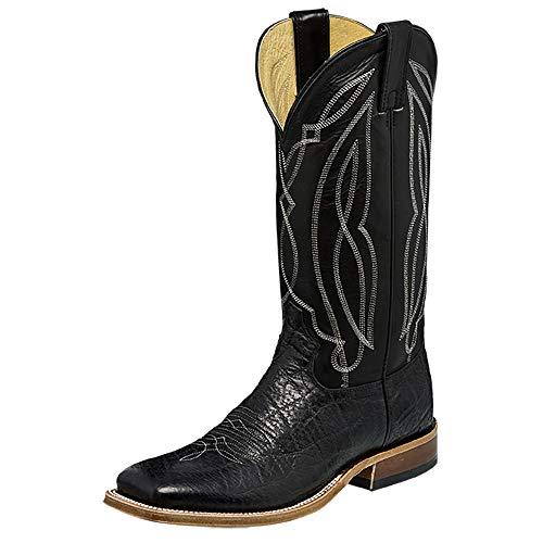 Tony Lama Men's Flat Cow Foot Cowboy Boot Square Toe Black 9.5 D