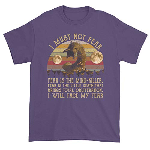Men's Dune Litany Against Fear I Must Not Fear Fear is The Mind Killer I Will Face Fear T-Shirt (Purple, Small)