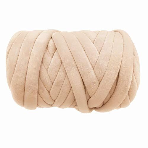 Super Vegan Velvet Chunky Yarn, 1 LBS Acrylic Bulky Thick Roving Softee Jumbo Tubular Yarn for Arm Knitting Home Décor Blankets Rugs (1 LBS / 21 Yards, Beige)
