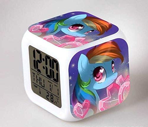 N/J Birthday Presents for The Children's Bedroom My Little Pony Night Light LED 7 Color Flash Changing Digital Alarm Clocks Bedroom Wake Up Clock Rainbow Dash,Gold