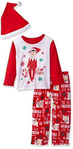 The Elf on the Shelf Kids' Big Family Sleepwear Collection with Santa Hat, Mercury red, 8