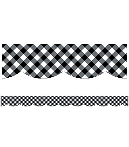 Schoolgirl Style Black and White Gingham Bulletin Board Borders, Woodland Whimsy Classroom Decorations, 39 Feet