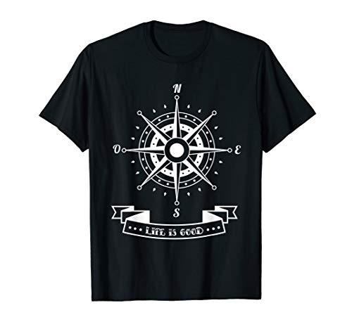 Life is Good Compass Rose Nautical Sailing T-Shirt