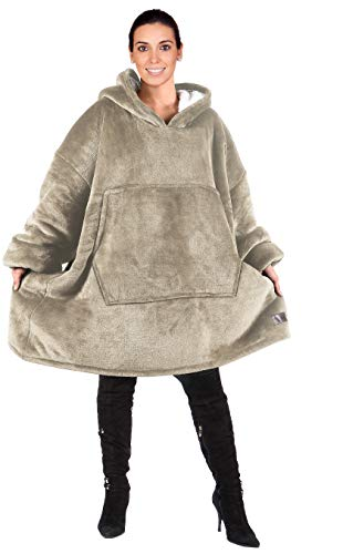 Catalonia Oversized Hoodie Blanket Sweatshirt,Super Soft Warm Comfortable Sherpa Giant Pullover with Large Front Pocket,for Adults Men Women Teenagers Kids,Camel