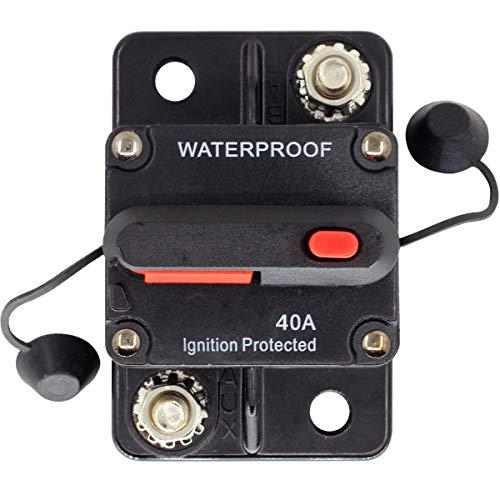 ZOOKOTO Circuit Breaker 40 Amp,Car Automotive Marine Boat Audio Circuit Breaker with Manual Reset, 12V- 42VDC, Waterproof (40A)