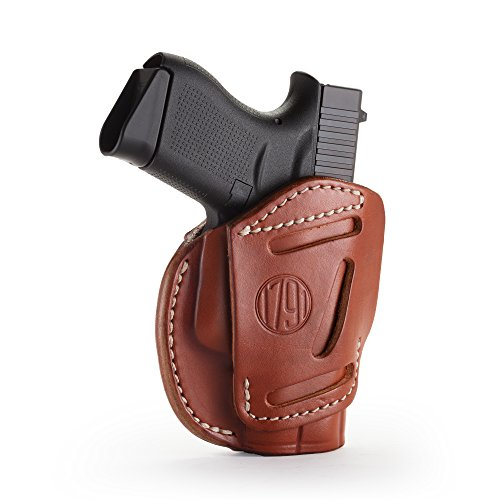 1791 GUNLEATHER 3-Way Glock 43 Holster - OWB CCW Holster Ambidextrous - Right & Left Handed Leather Gun Holster - Fits Glock 43, Glock 42, Kahr CW380 and S&W Bodyguard (Classic Brown)