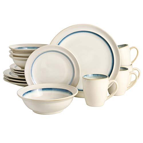 Gibson Elite Lawson Round Reactive Glaze Stoneware Dinnerware Set, Service for 4 (16pcs), White/Teal