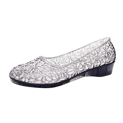 OMGard Womens Hollow Glitter Crystal Ballet Flat Jelly Shoes Sandals Color Black Size 7