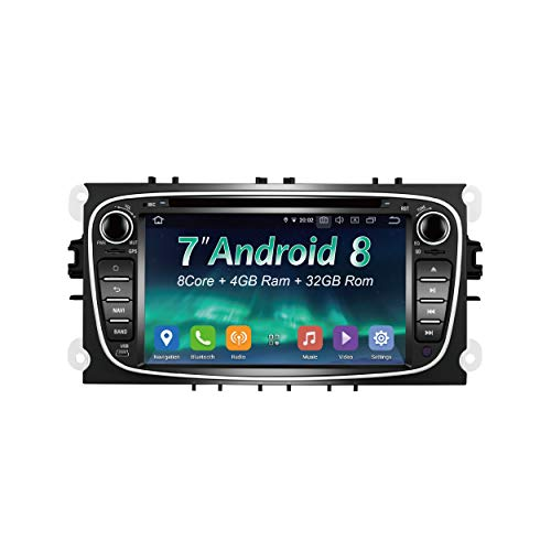 AMASE AUDIO Car Stereo, 7' Touchscreen, 2 Din for Mondeo/Ford S-Max/C-Max/Focus/Galaxy, in-Dash DVD Player, Support Android auto Apple carplay/GPS navi/HD1080P/FASTBOOT